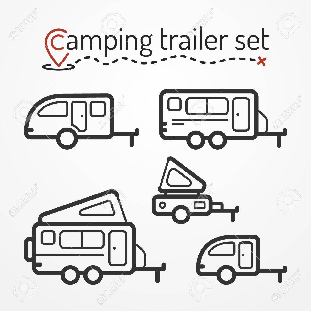 Set Of Camping Trailer Icons Travel Trailer Symbols In Silhouette