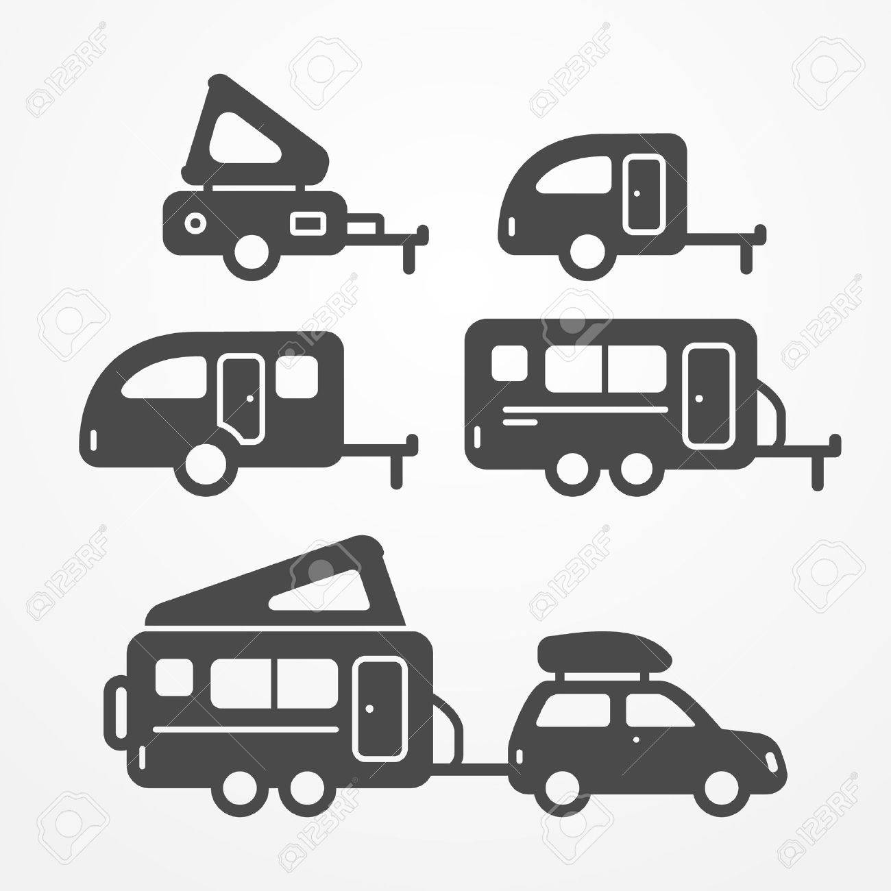 Set Of Camping Trailer Icons Travel Symbols In Silhouette Style Trailers Stock
