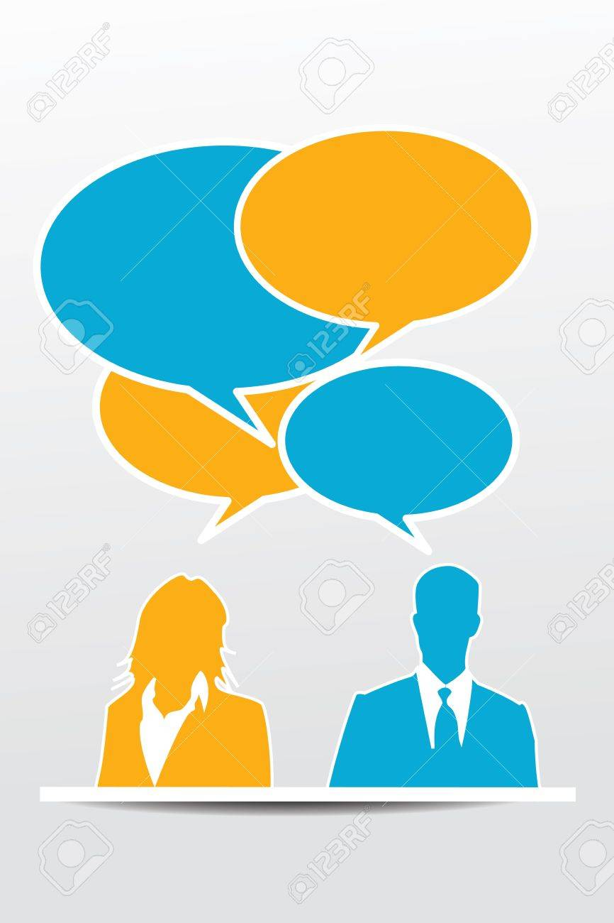 Conversation business people with speech bubbles Stock Vector - 17799727