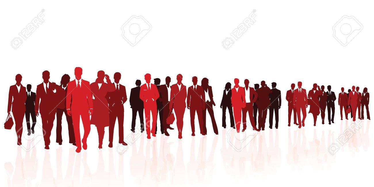 Business team red silhouettes Stock Vector - 17799751