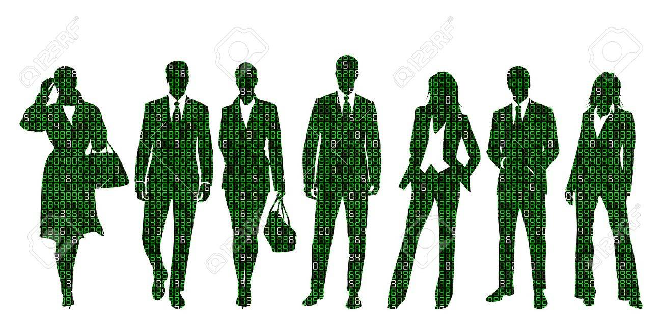 Concept Illustration About Business Information Technology Represented By A Group Of People Silhouettes Made Out