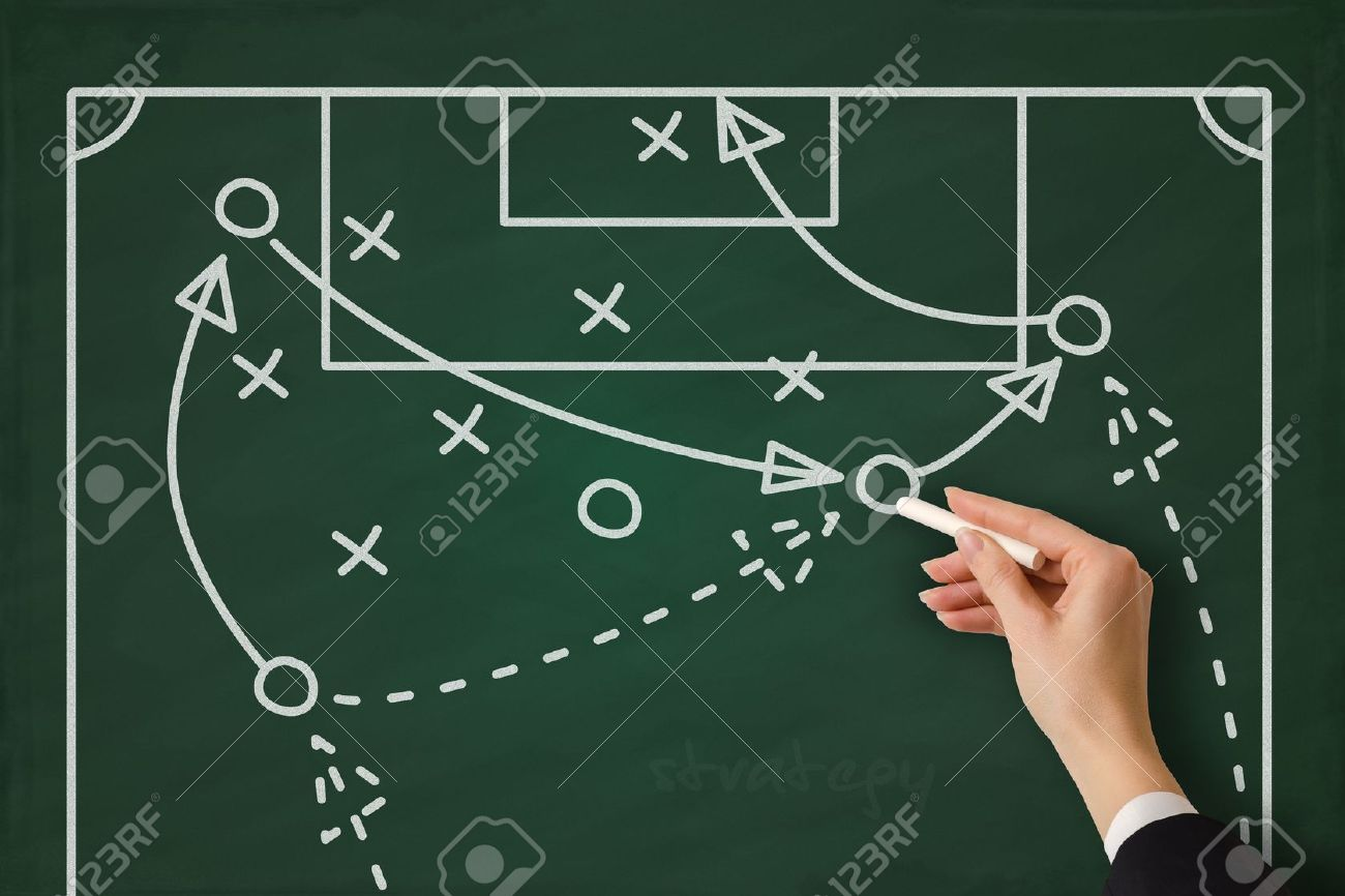 Tactic strategy concept hand sketched on a blackboard Stock Photo - 18075613