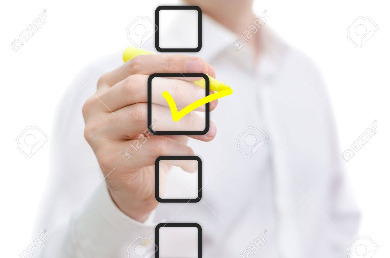 yellow check box. man ticking the checkbox with yellow marker stock photo 19688109 check box