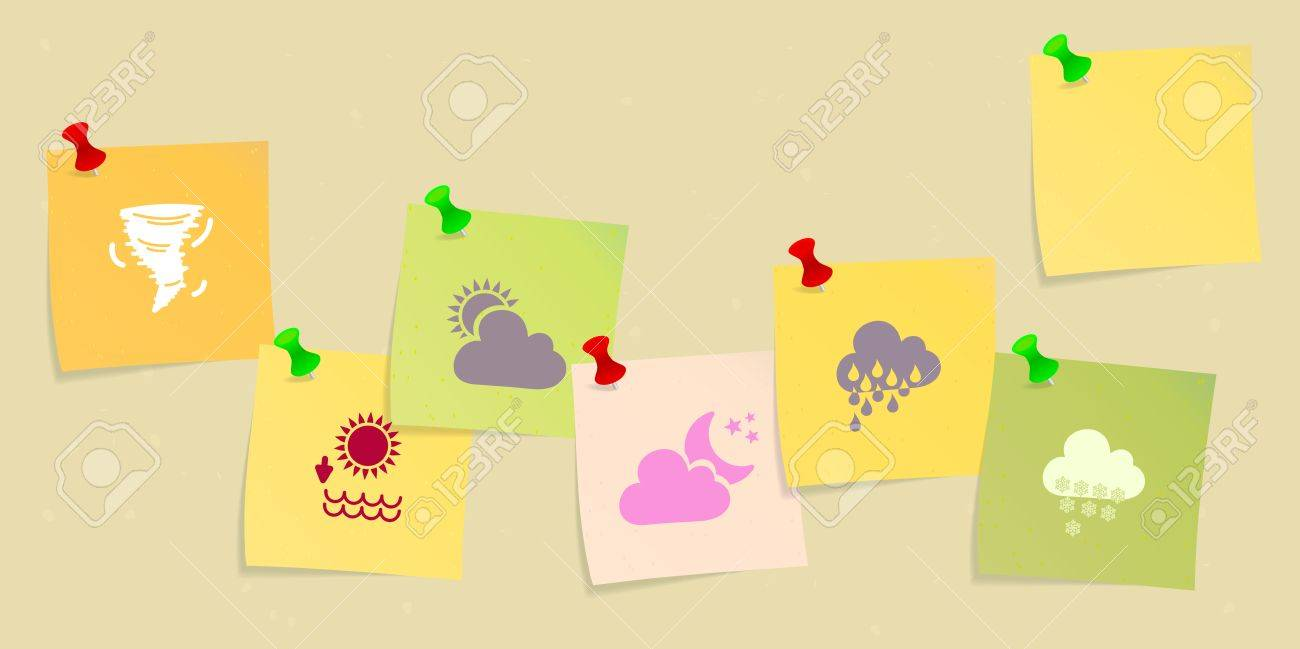 Weather icon set sketched on post its Stock Vector - 21635452
