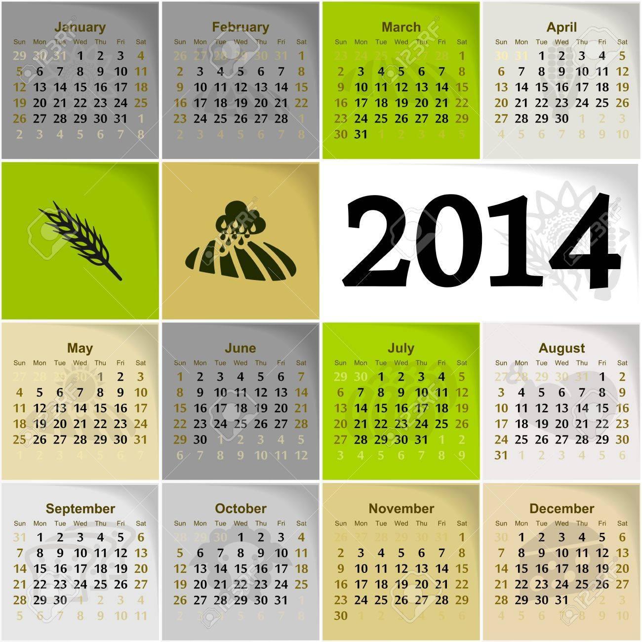 2014 agriculture calendar illustration Stock Vector - 22150597