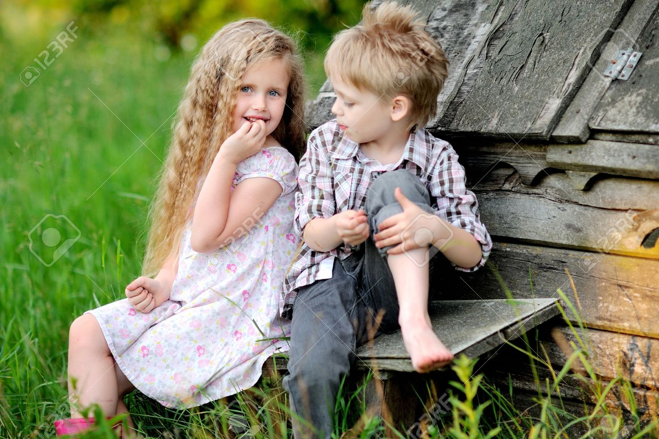 Portrait Of Little Boys And Girls Outdoors In Summer Stock Photo ...