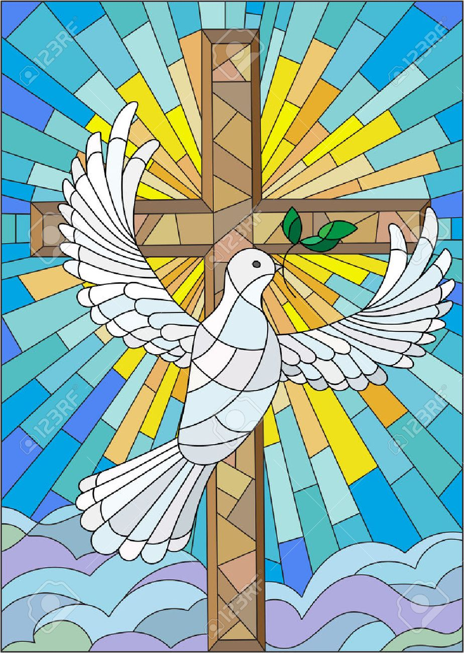 Illustration with a cross and a dove in the stained glass style - 59283941
