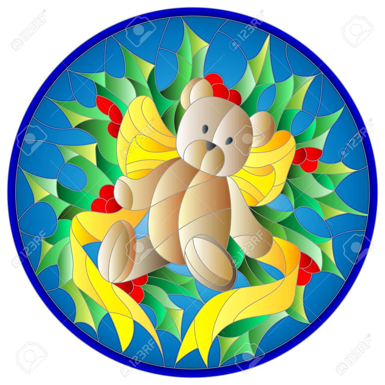 Illustration In Der Glasmalerei-Stil Mit Einem Teddybär, Band- Und ...