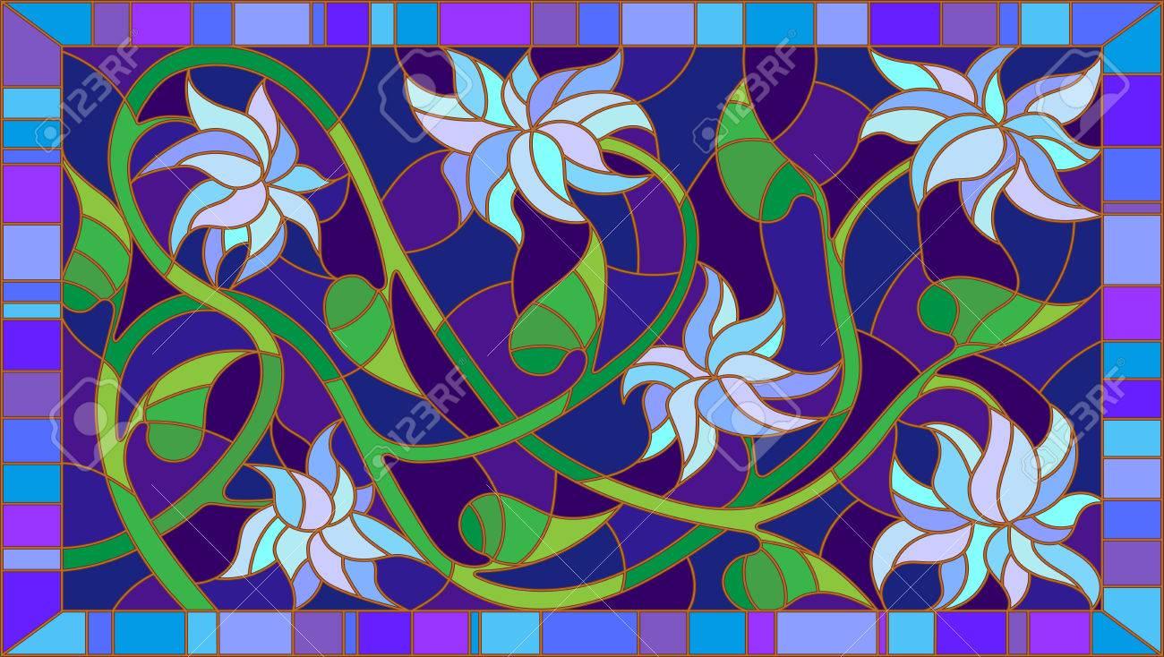 Ilustración De Estilo Vidrieras Con Flores Azules Abstractas Sobre ...