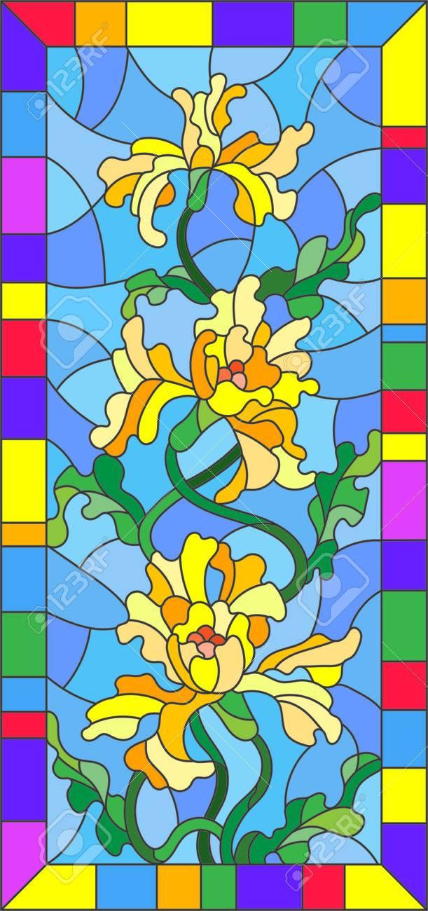 Ilustracion En Estilo De Vidrieras Con Flores Capullos Y Hojas De