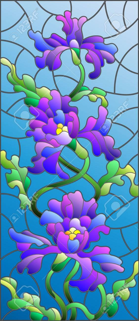 Ilustracion De Estilo Vitral Con Las Flores Brotes Y Hojas De Iris