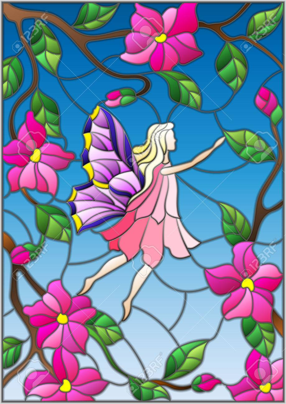 Illustration In Stained Glass Style With A Winged Fairy In The