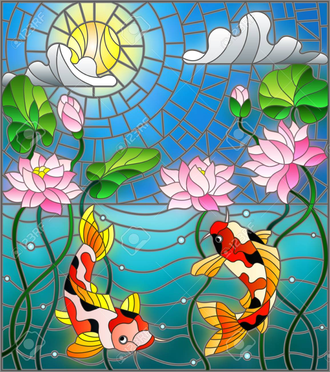 Illustration In Stained Glass Style With Koi Fish And Lotus Flowers