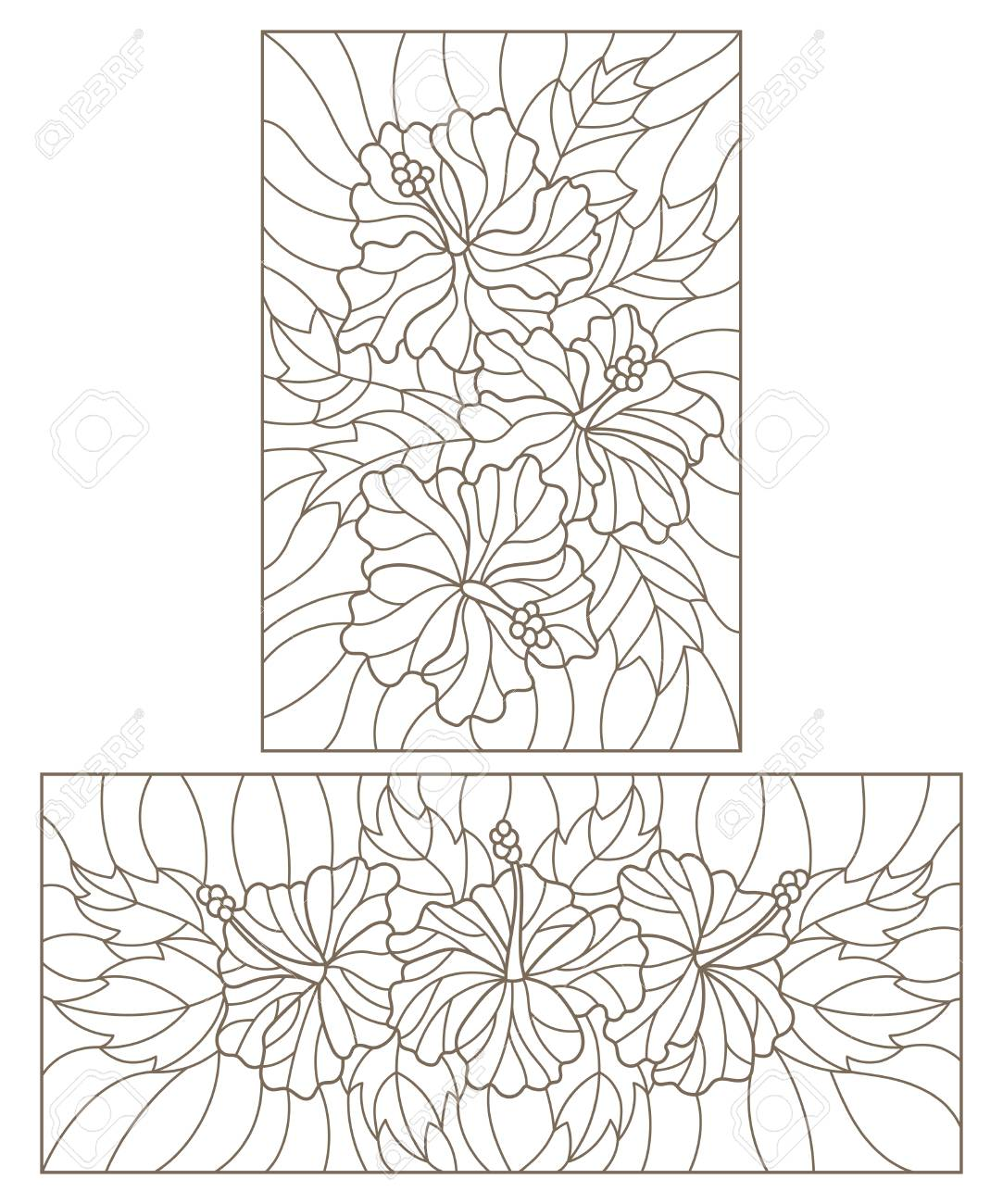Set Contour Illustrations In The Stained Glass Style With Floral