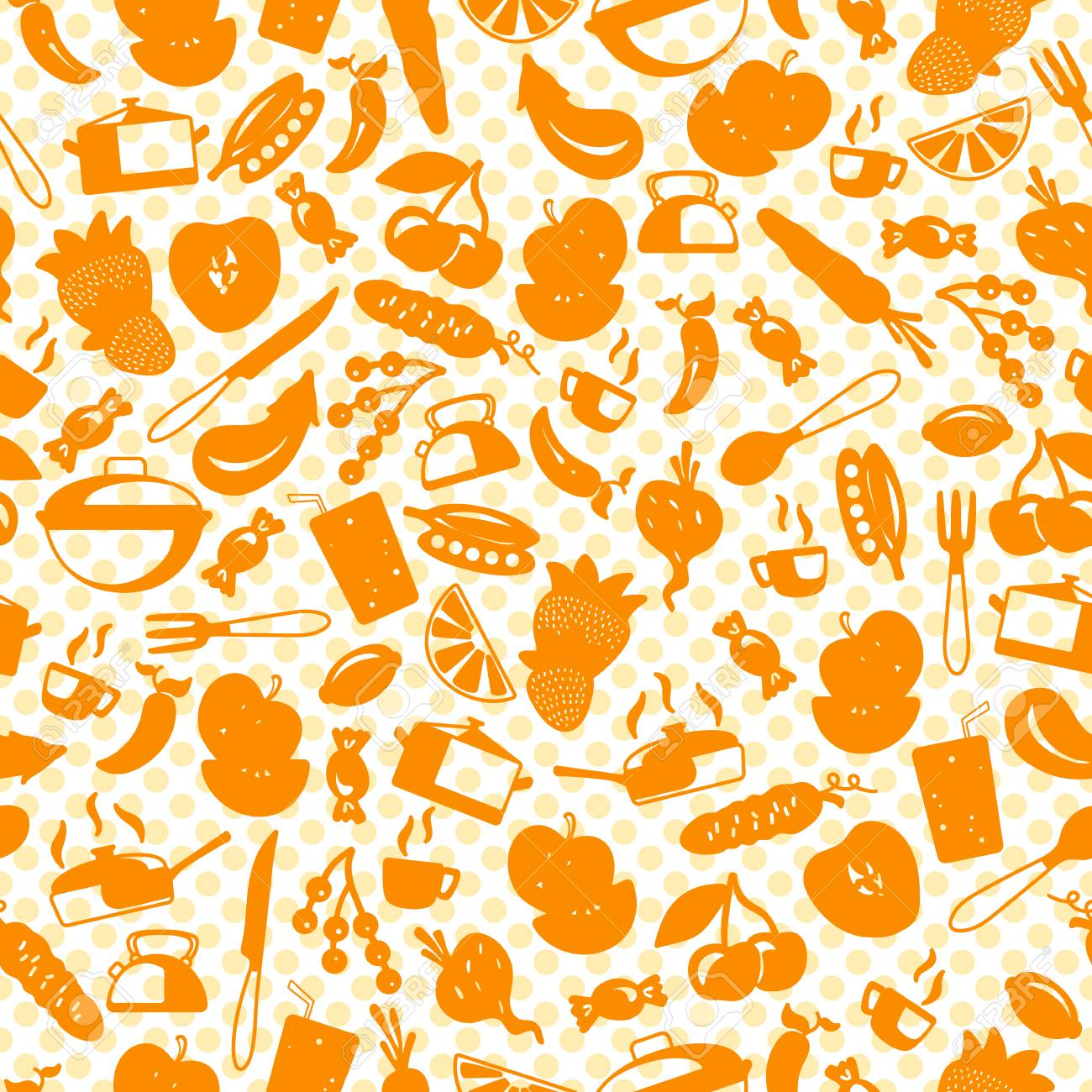 Genial Seamless Pattern With Simple Icons On A Theme Kitchen Accessories And Food , Orange Silhouettes Of