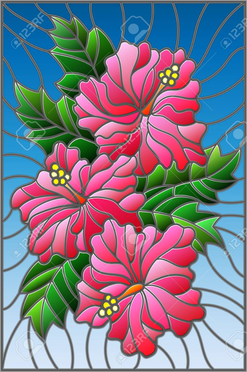 Illustration In Stained Glass Style With Flowers And Leaves