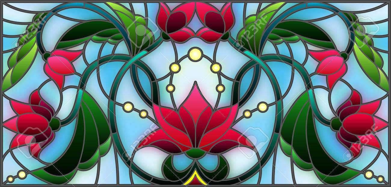 Illustration in stained glass style with abstract pink flowers on a blue background - 80441199