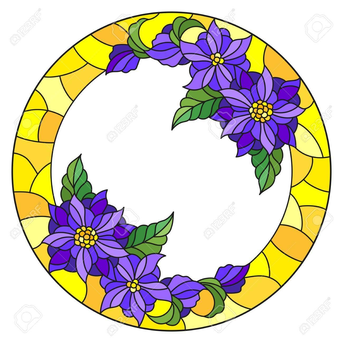 Ilustración En Marco De Flor De Estilo De Vidrieras, Flores Púrpuras ...