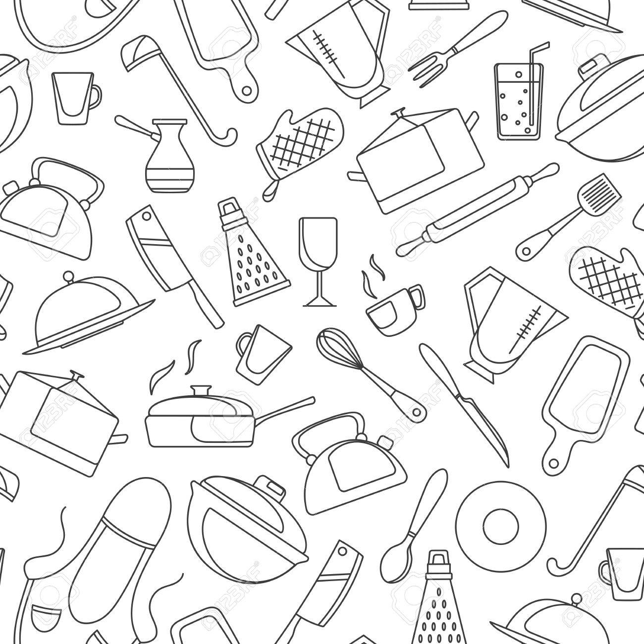 Seamless Pattern On The Theme Of Cooking And Kitchen Utensils ...