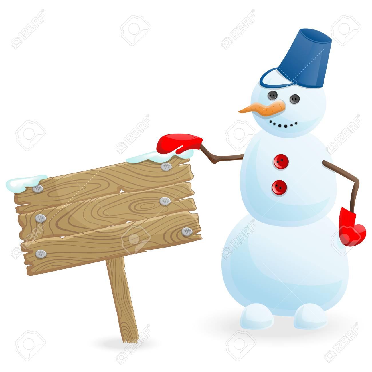 冬休み分離した白い背景の上の木製のバナーと雪だるまを笑顔のイラストの
