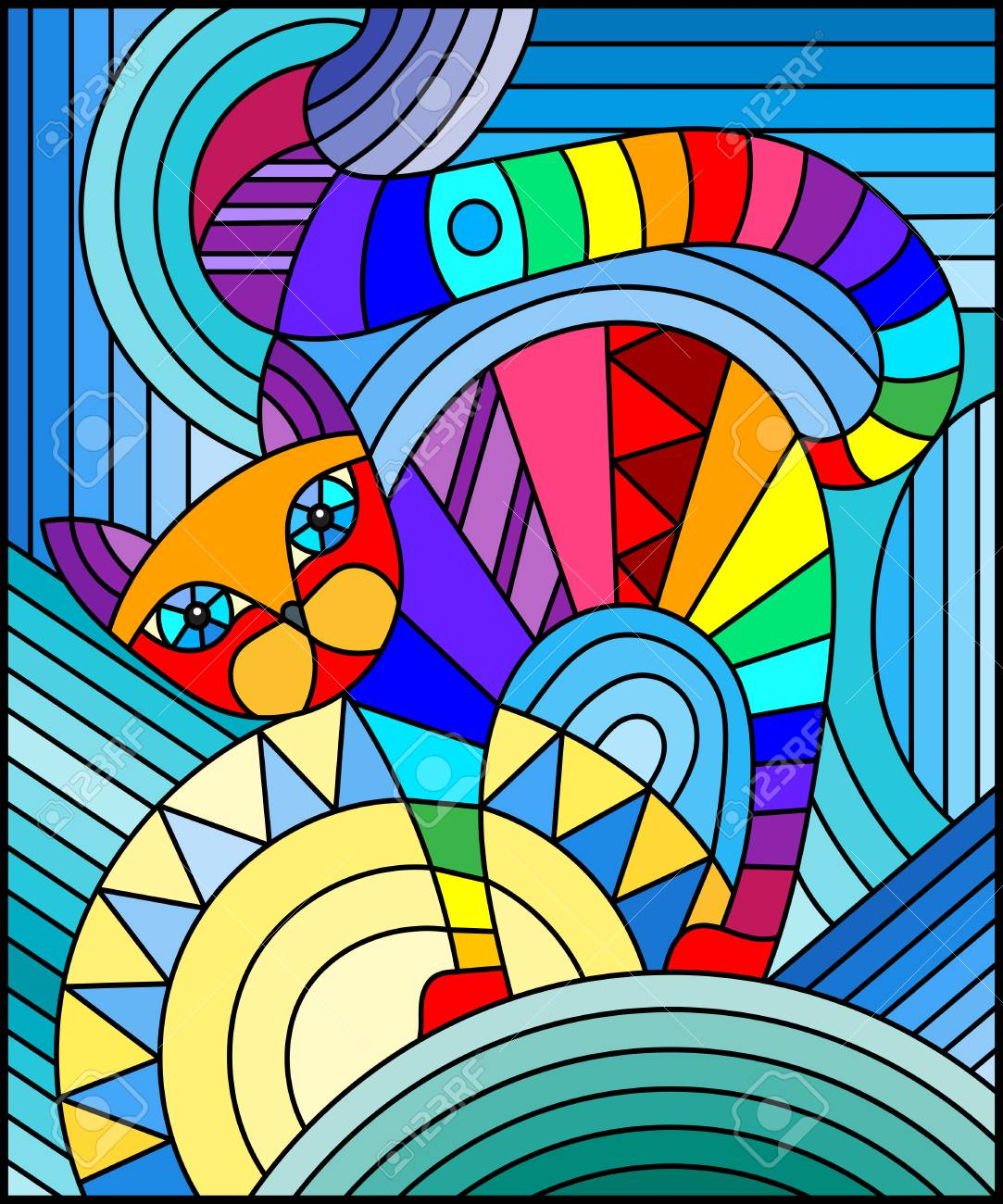Illustration In Stained Glass Style With Abstract Geometric Cat Stock Vector