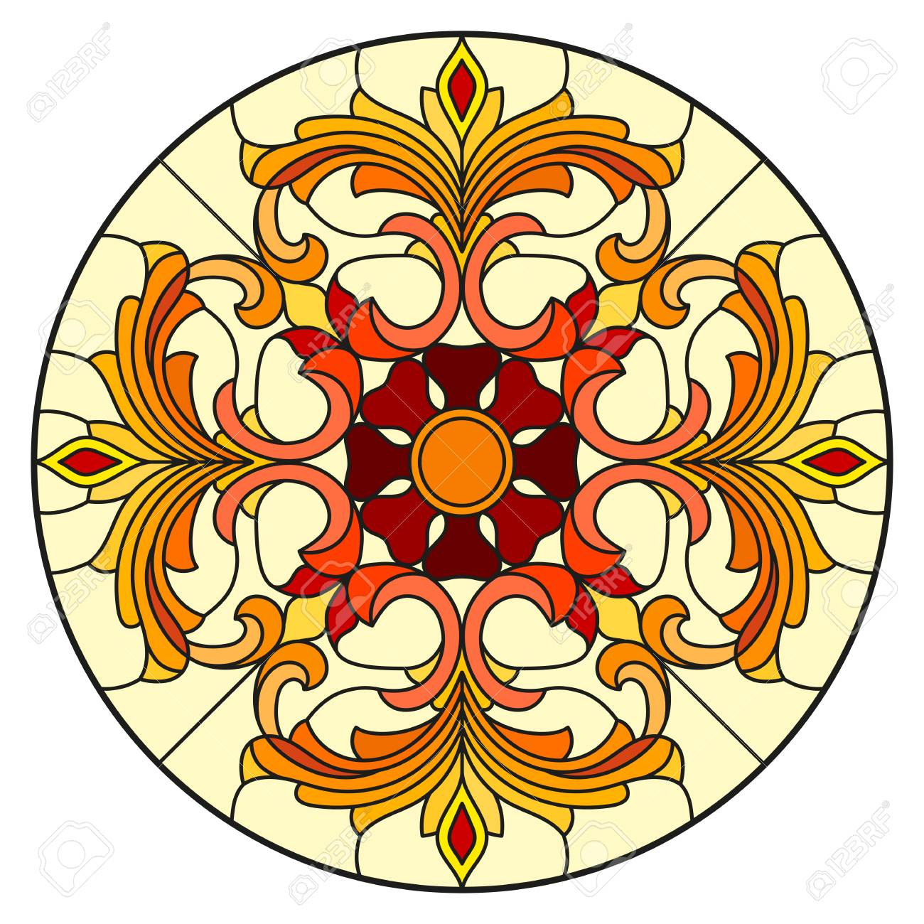 Illustration in stained glass style with abstract flowers, leaves and swirls, circular image on white background - 97576040