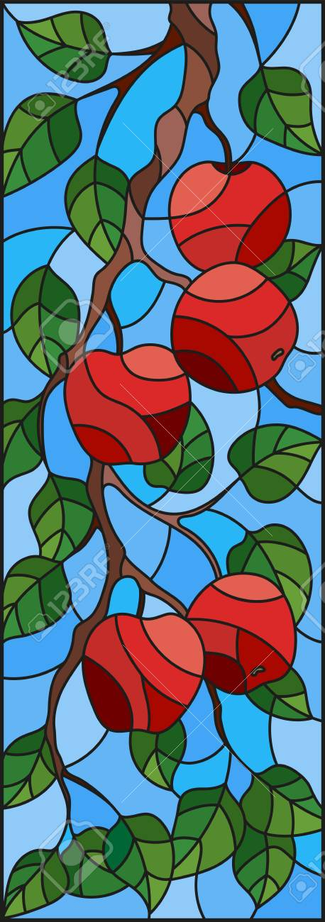 Illustration in the style of a stained glass window with the branches of Apple trees , the fruit branches and leaves against the sky,vertical orientation - 97576042