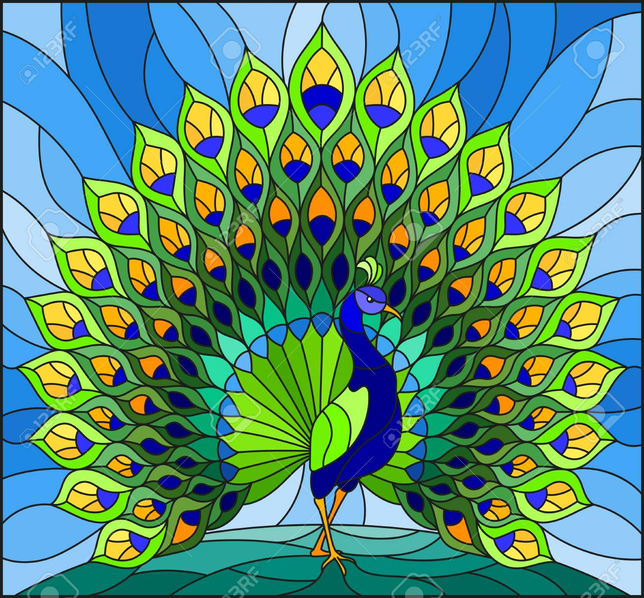 Illustration in stained glass style with colorful peacock on blue sky - 97576038
