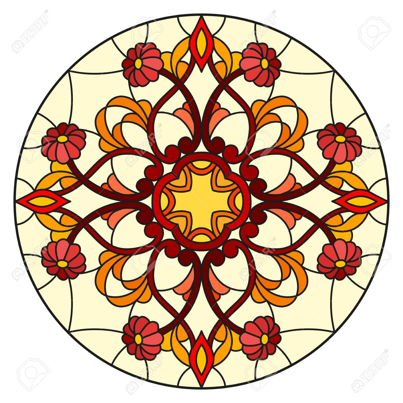 Illustration in stained glass style with abstract flowers, leaves and swirls, circular image on white background - 97576044
