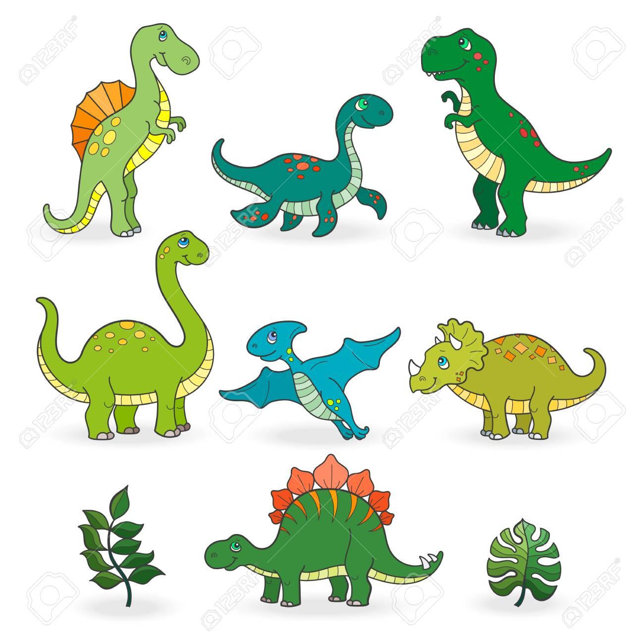 Set of funny cartoon dinosaurs isolated on white background - 97576053