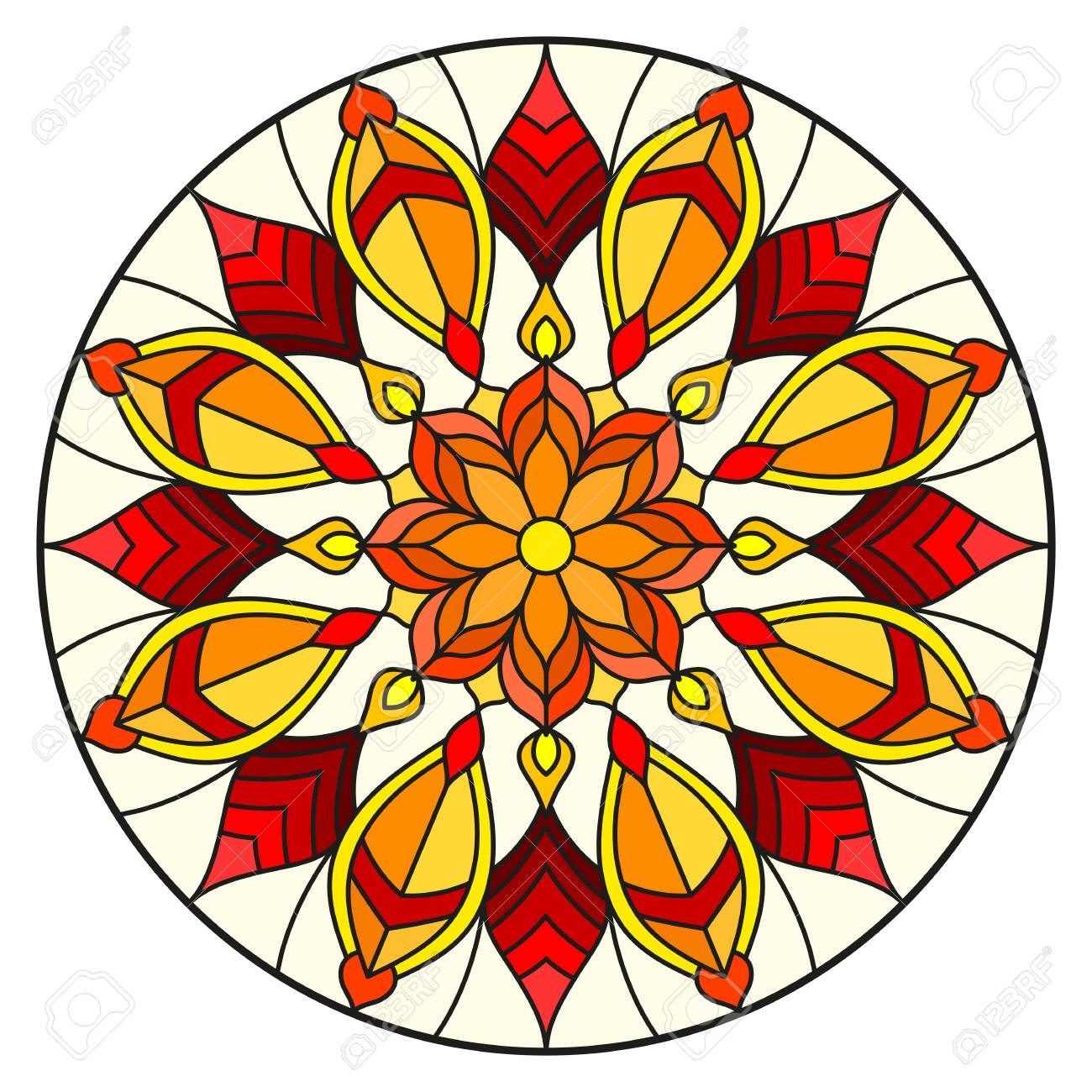 Illustration in stained glass style with abstract flowers, leaves and swirls, circular image on white background - 97576052