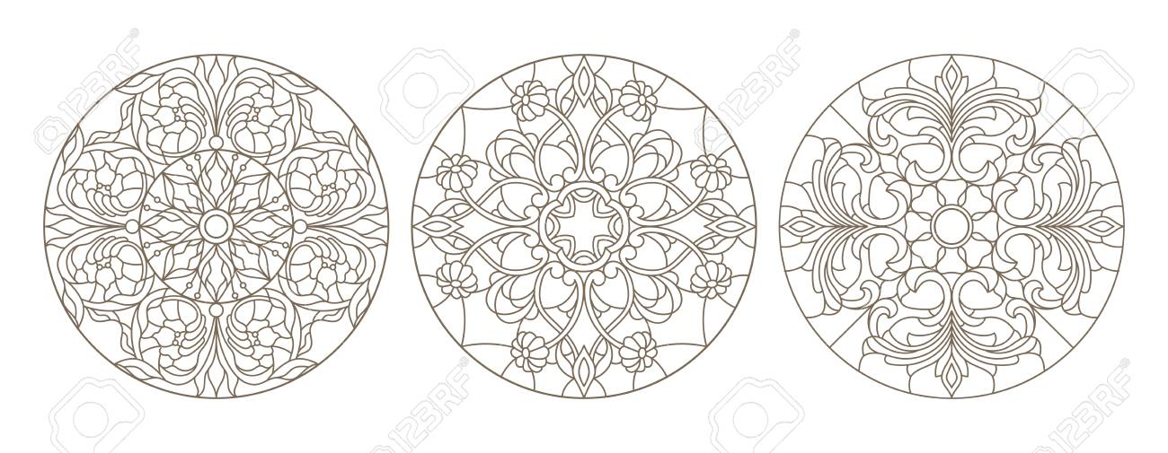 Set contour illustrations of stained glass, round stained glass floral, dark outline on a white background - 97576057