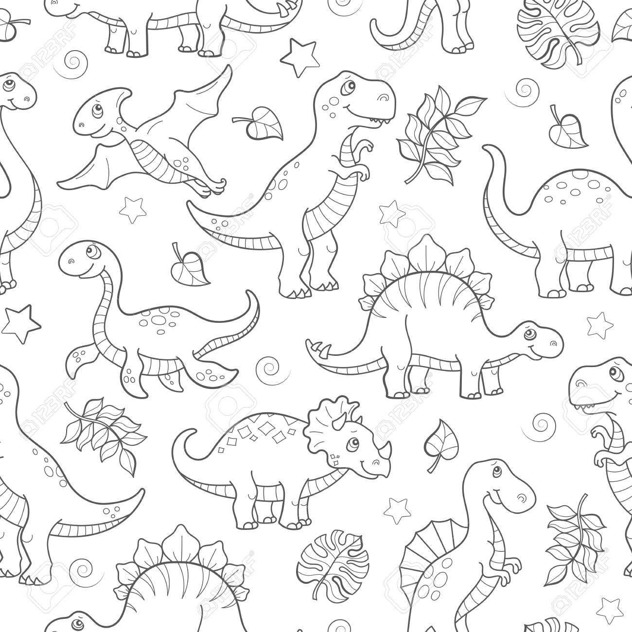 Seamless pattern with dinosaurs and leaves, contoured animals on white background - 97576100