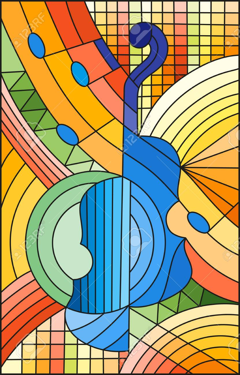 Illustration in stained glass style on the subject of music, the shape of an abstract violin on geometric background. - 98999035
