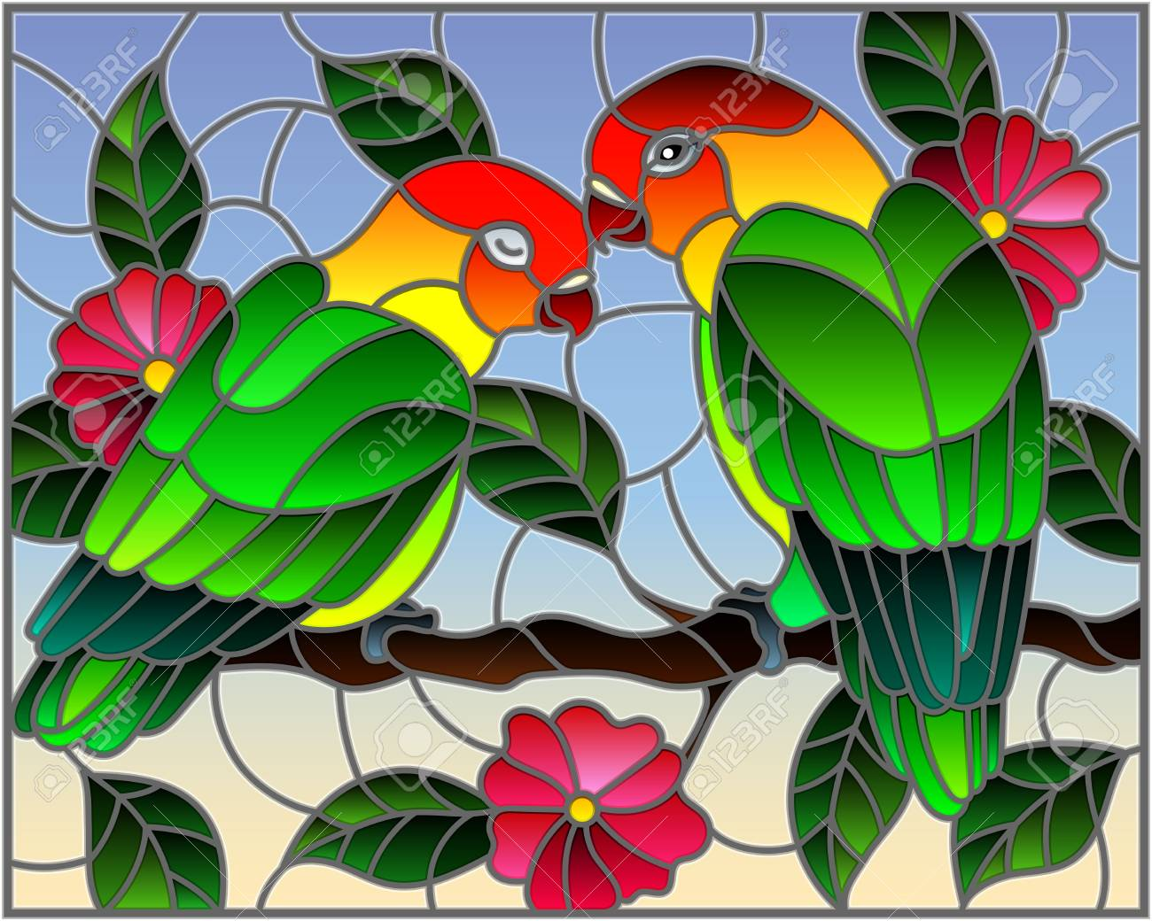 Illustration In Stained Glass Style With Pair Of Birds Parrots Royalty Free Cliparts Vectors And Stock Illustration Image 102999620