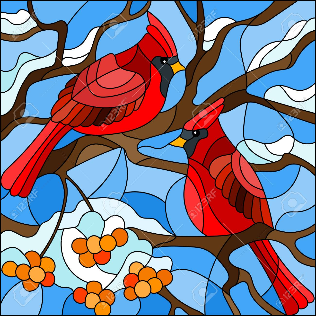 Illustration In Stained Glass Style Pair Of Birds Cardinals Royalty Free Cliparts Vectors And Stock Illustration Image 108085381