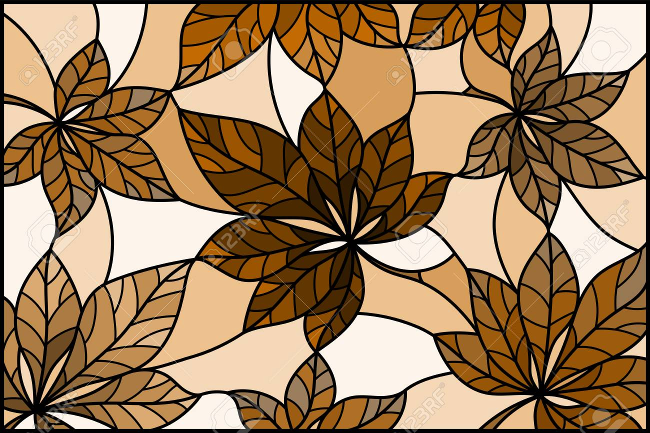 Illustration In Stained Glass Style With Leaves Oftrees Tone