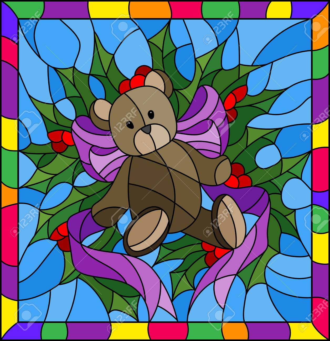 Illustration In Stained Glass Style For New Year And Christmas,Teddy ...