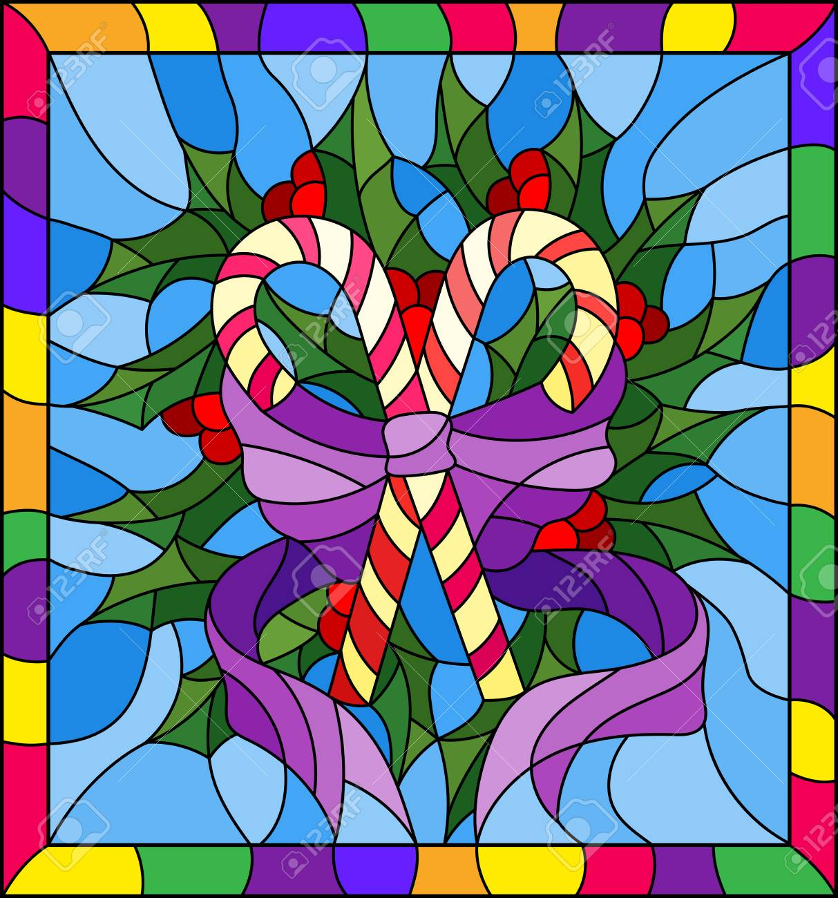 Illustration In Stained Glass Style For New Year And Christmas ...