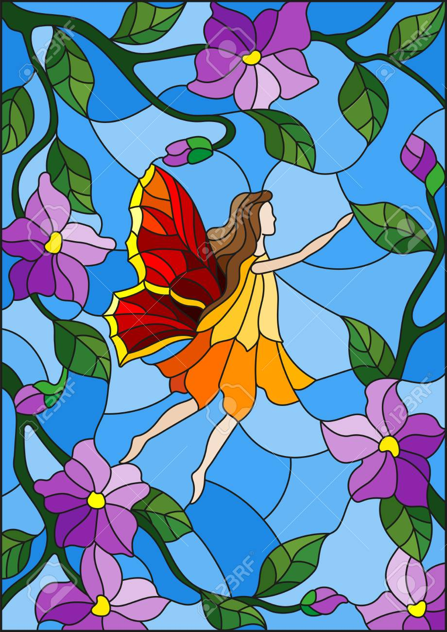 Illustration In Stained Glass Style With A Winged Fairy In The Sky