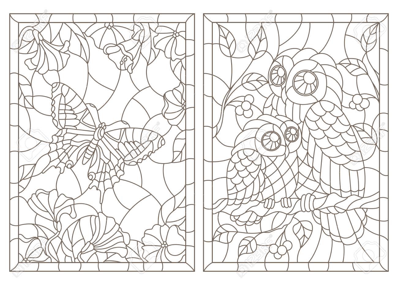Set of contour illustrations of stained-glass Windows with a butterfly and owls, dark contours on a white background - 109901468