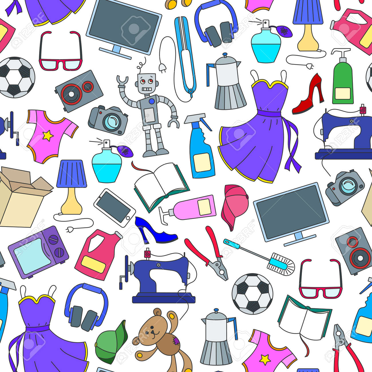 Seamless pattern on a variety of products and shopping, simple purchase icons, color icons on white background - 124667990