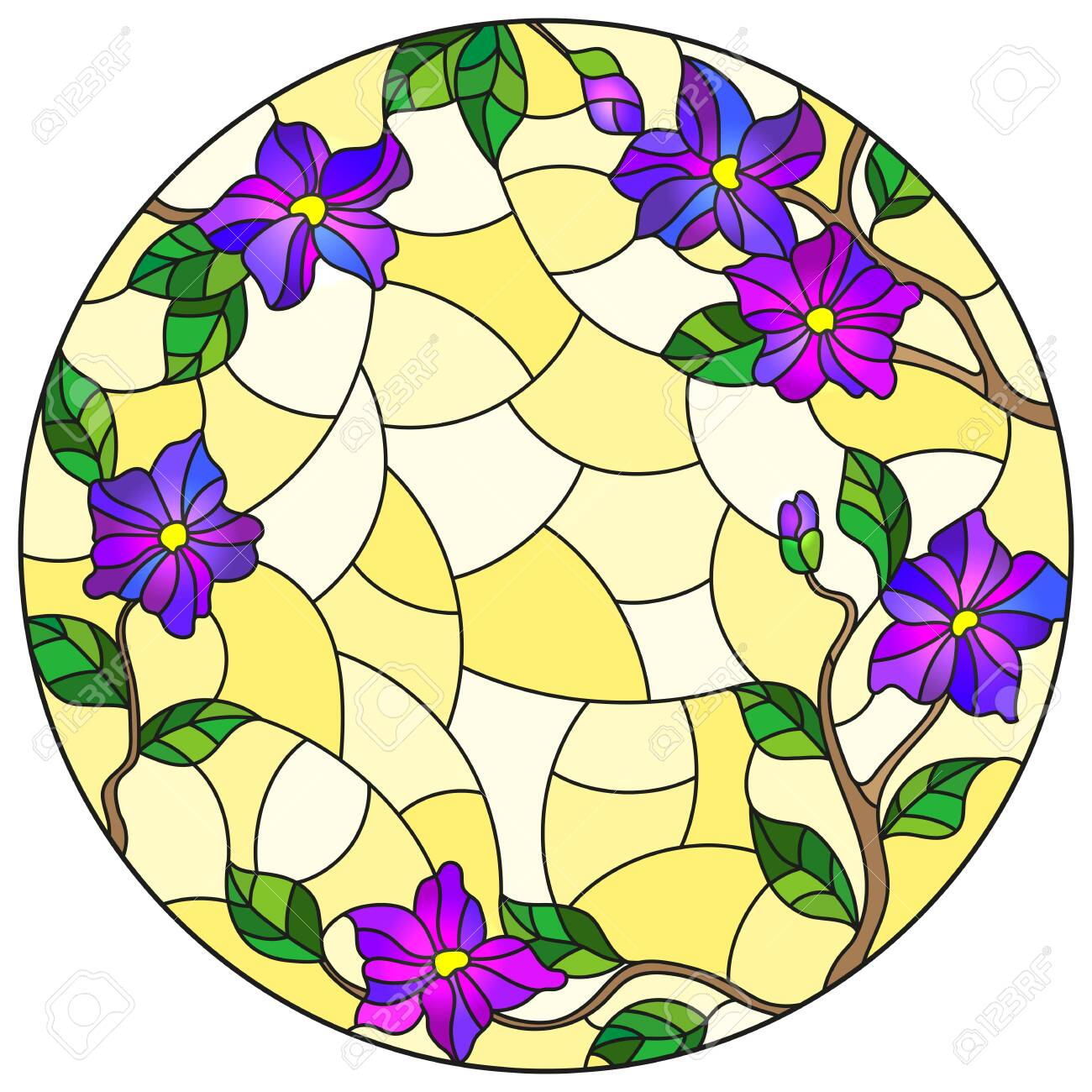 Illustration in stained glass style with floral arrangement of flowers, purple flowers and leaves on a yellow background, round image - 133856117