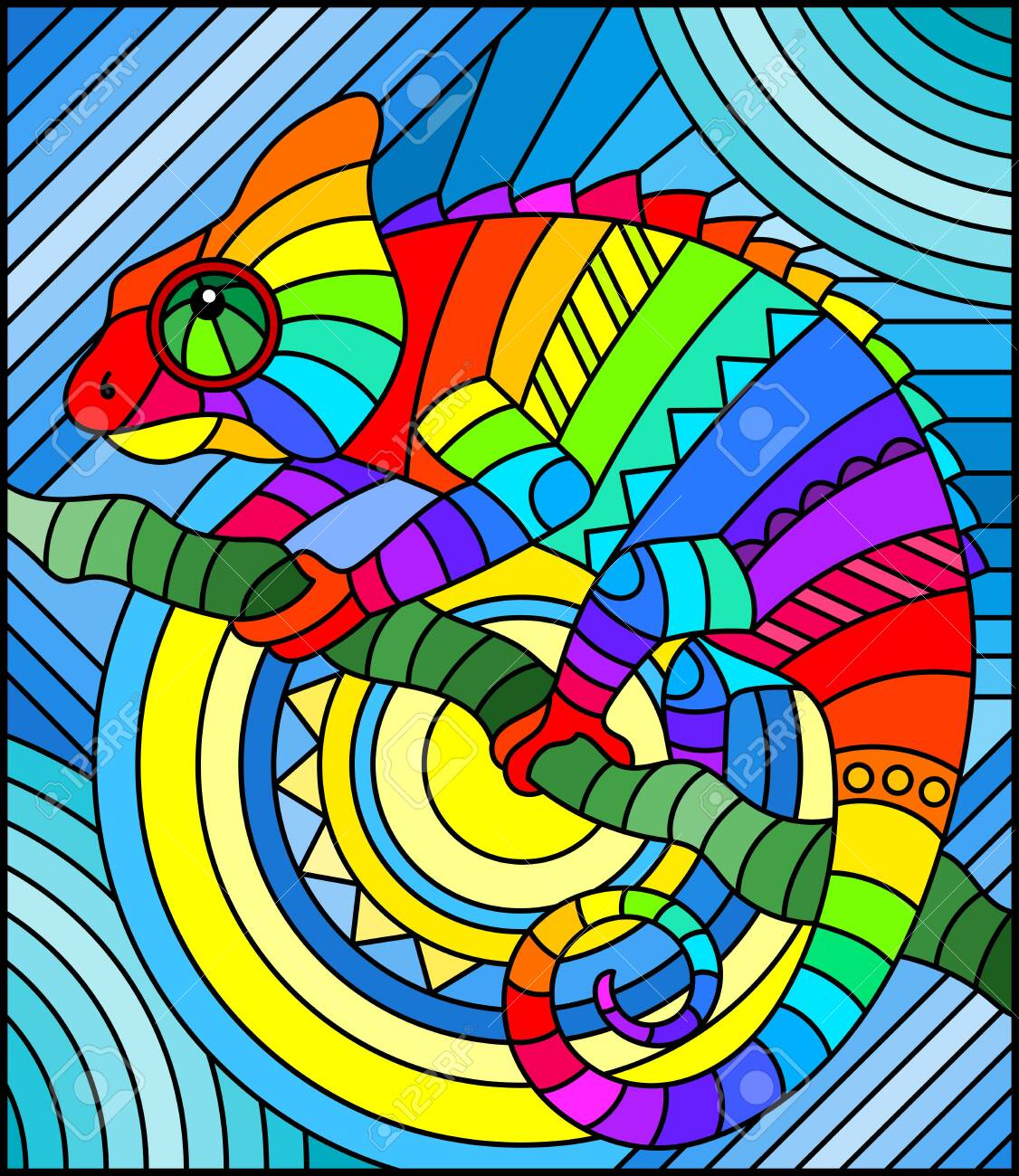 Illustration in stained glass style with abstract geometric rainbow chameleon - 140264142