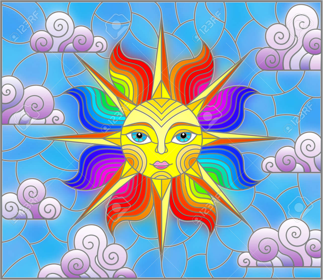Illustration in stained glass style with fabulous sun with the face on the background of sky and clouds, oval image - 146864431