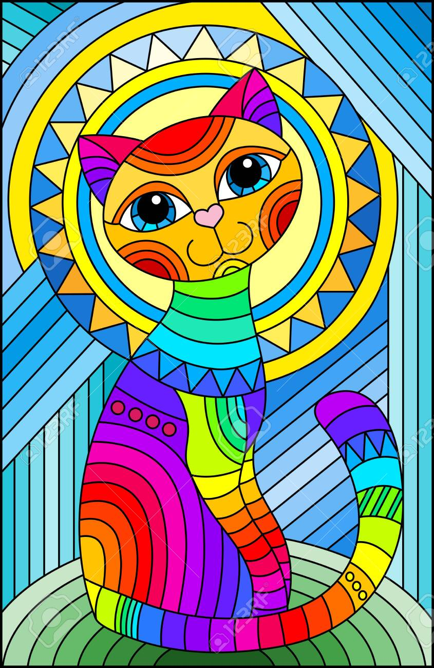 Illustration in stained glass style with a bright rainbow cat on the background of an abstract geometric sky and sun, rectangular image - 147758223