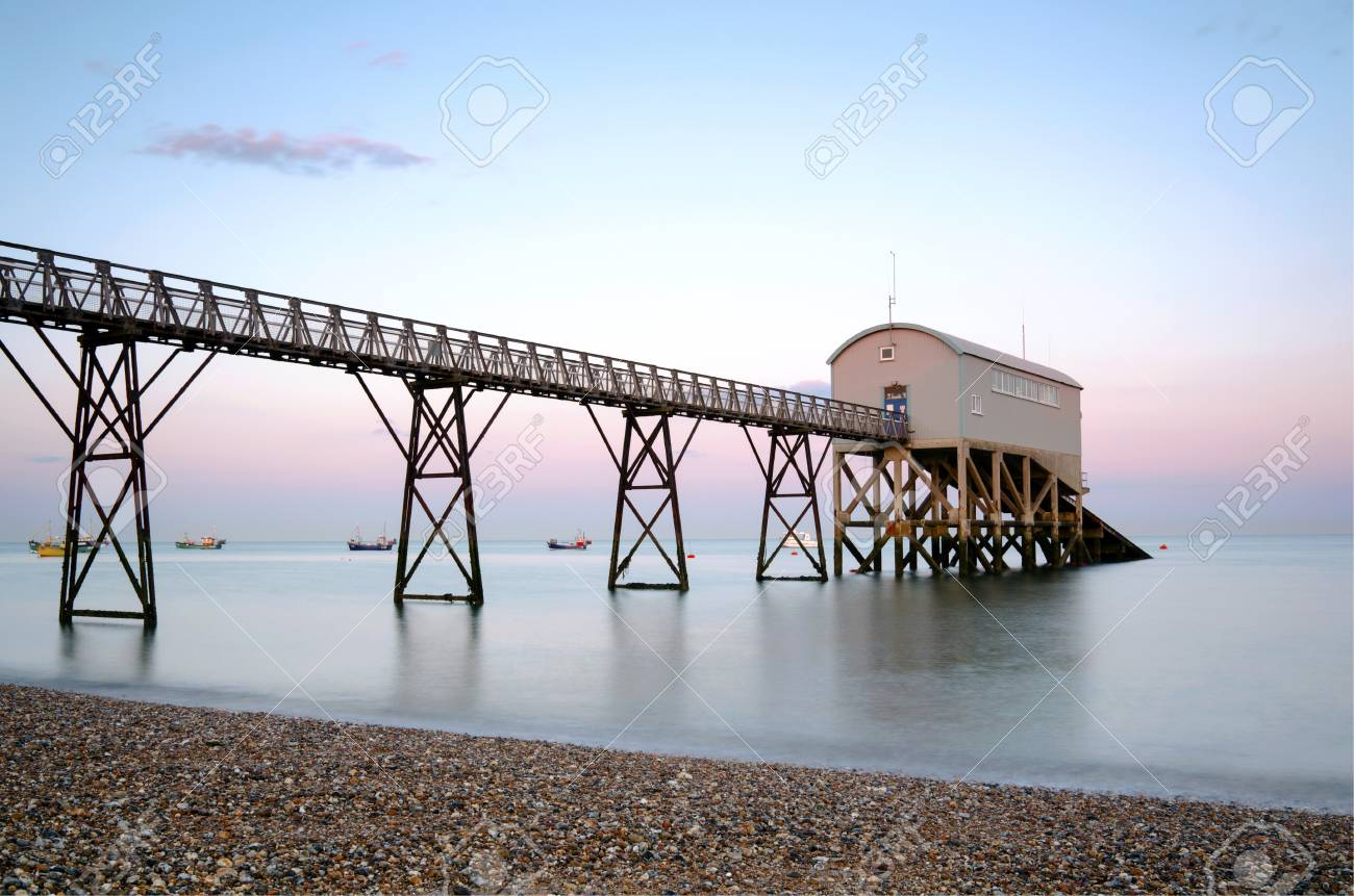 Selsey Bill lifeboat station in West Sussex at sunset Stock Photo - 16881566