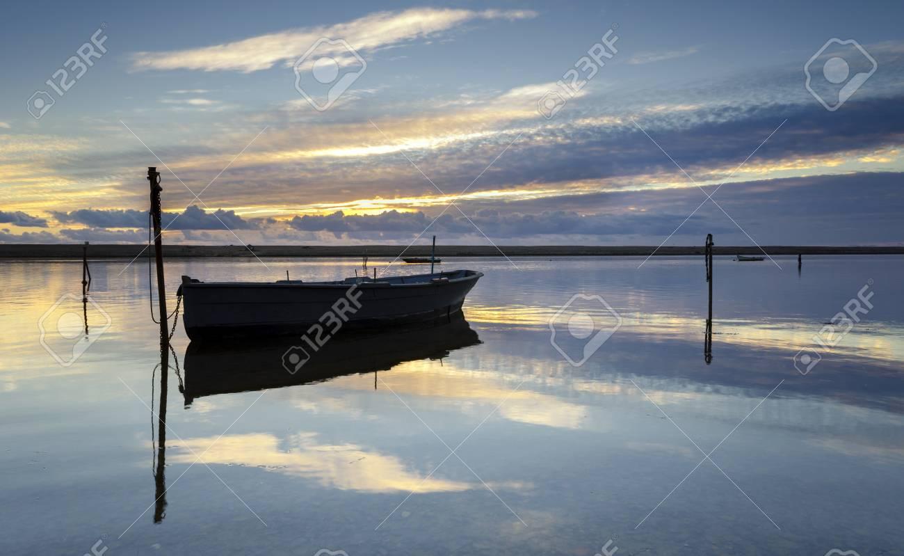 Boats on the Fleet Laggon at Chesil Beach near Weymouth in Dorset Stock Photo - 16974310