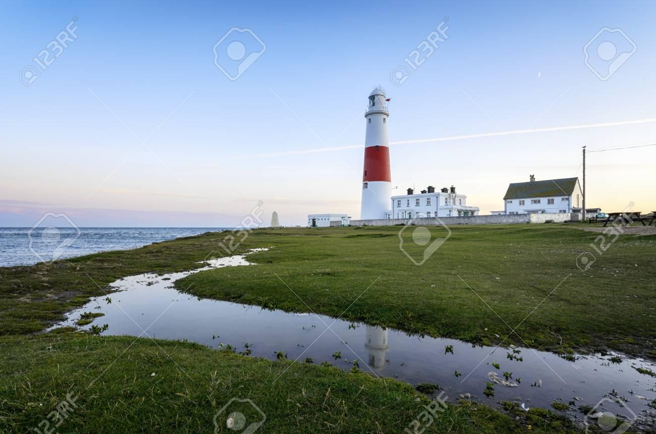 Dusk at the lighthouse on Portland Bill near Weymouth on Dorset's Jurassic coast. Stock Photo - 18832446