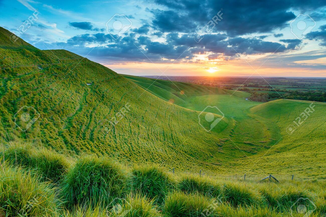 Dramatic Sunset Over The Manger On White Horse Hill At Uffington Stock Photo Picture And Royalty Free Image Image 130498461